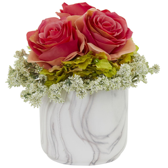 Rose and Hydrangea Artificial Arrangement in Marble Finished Vase - SKU #1629-RD - 1