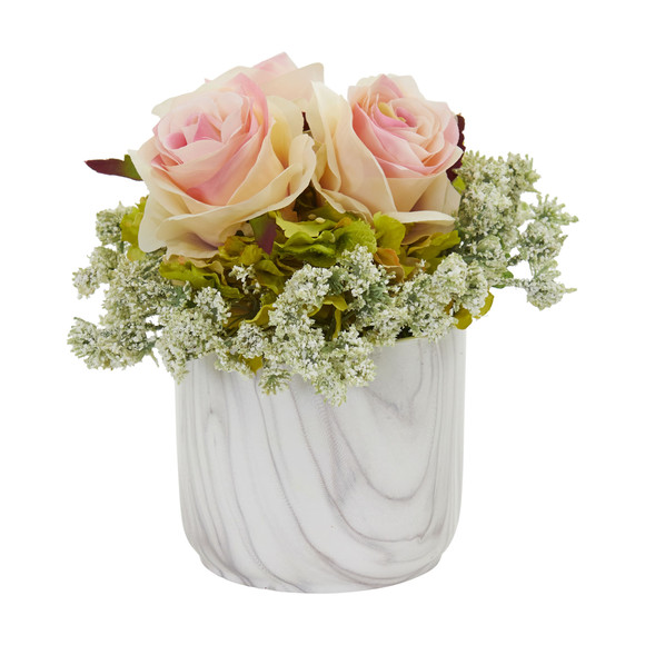 Rose and Hydrangea Artificial Arrangement in Marble Finished Vase - SKU #1629-RD - 2