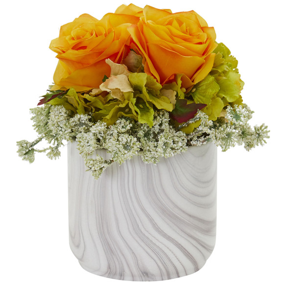 Rose and Hydrangea Artificial Arrangement in Marble Finished Vase - SKU #1629-RD - 3