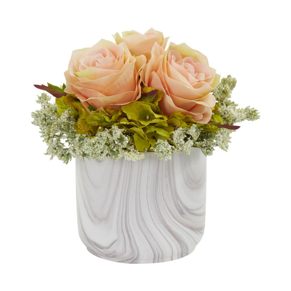 Rose and Hydrangea Artificial Arrangement in Marble Finished Vase - SKU #1629 - 6