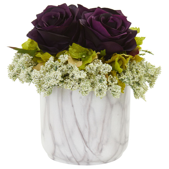 Rose and Hydrangea Artificial Arrangement in Marble Finished Vase - SKU #1629-RD - 4