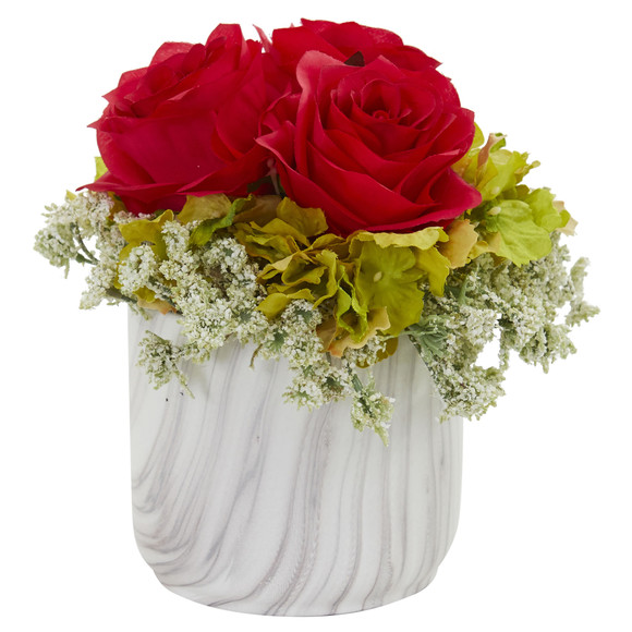 Rose and Hydrangea Artificial Arrangement in Marble Finished Vase - SKU #1629-RD