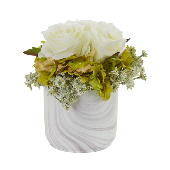 Rose and Hydrangea Artificial Arrangement in Marble Finished Vase - SKU #1629 - 4