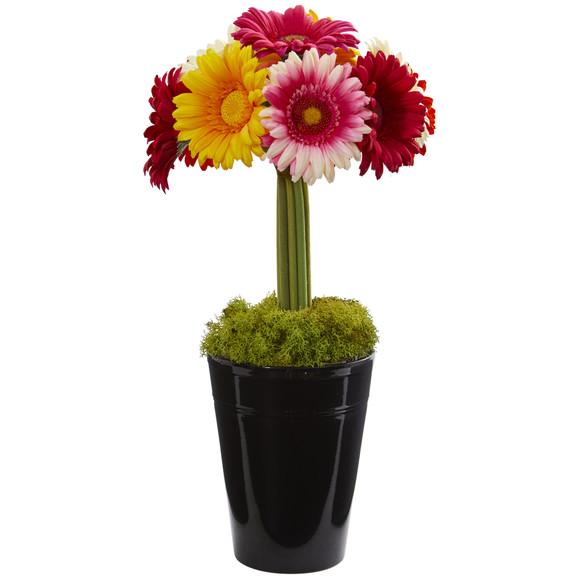 Gerber Daisy Artificial Arrangement in Black Vase - SKU #1630 - 4