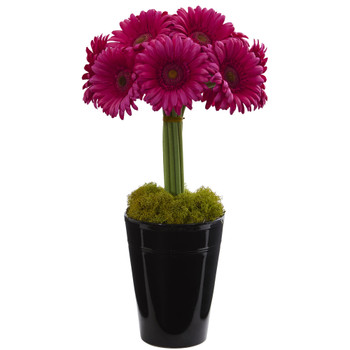 Gerber Daisy Artificial Arrangement in Black Vase - SKU #1630