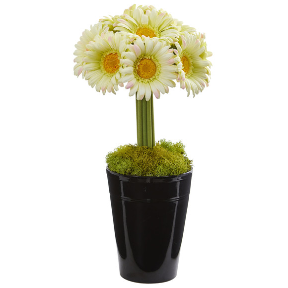 Gerber Daisy Artificial Arrangement in Black Vase - SKU #1630 - 5