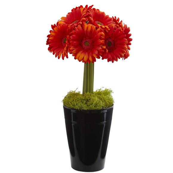 Gerber Daisy Artificial Arrangement in Black Vase - SKU #1630 - 6