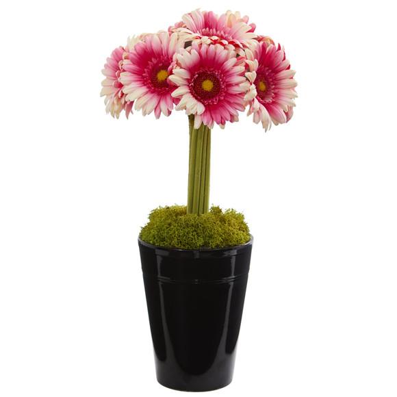 Gerber Daisy Artificial Arrangement in Black Vase - SKU #1630 - 2
