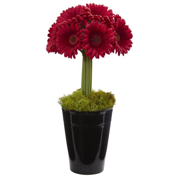 Gerber Daisy Artificial Arrangement in Black Vase - SKU #1630 - 1