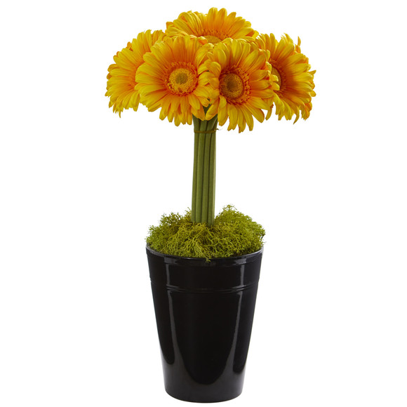 Gerber Daisy Artificial Arrangement in Black Vase - SKU #1630 - 3