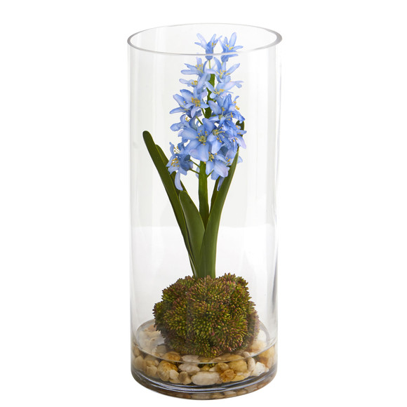 14 Hyacinth and Sedum Artificial Arrangement - SKU #1631