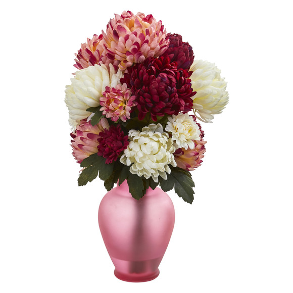 Mum Artificial Arrangement in Rose Colored Vase - SKU #1632