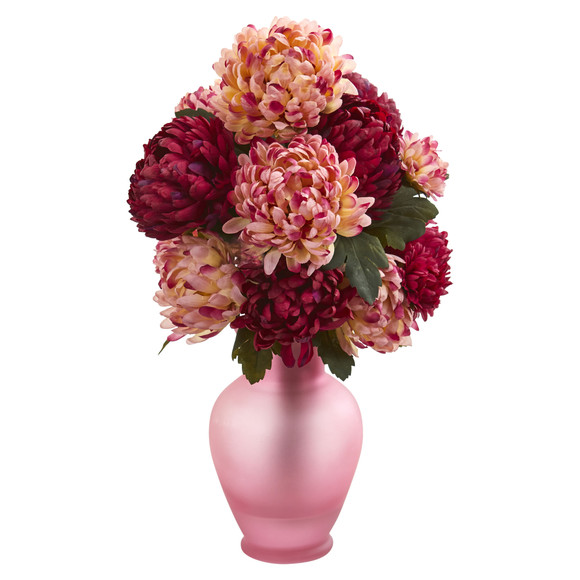 Mum Artificial Arrangement in Rose Colored Vase - SKU #1632 - 1