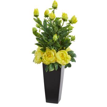 Peony Artificial Arrangement in Black Vase - SKU #1633-YL