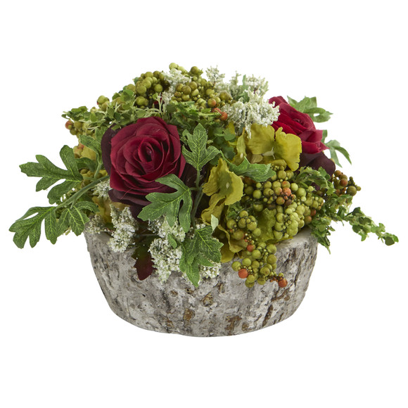 Roses Bouquet Artificial Arrangement in Oak Vase - SKU #1634 - 5