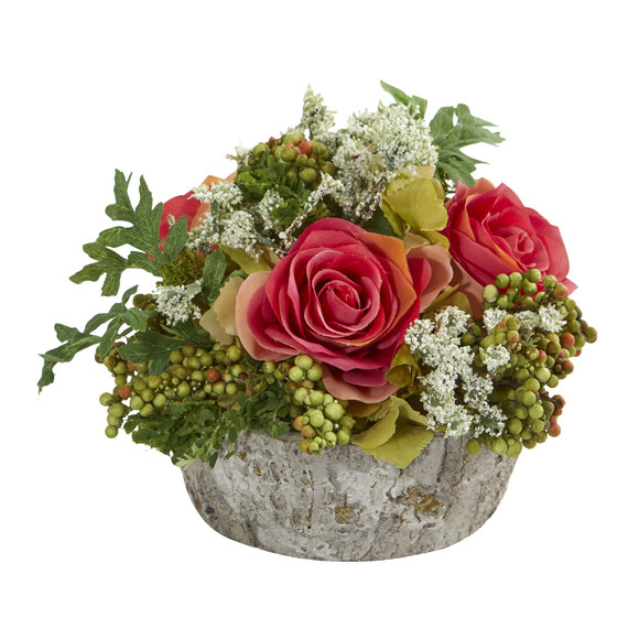 Roses Bouquet Artificial Arrangement in Oak Vase - SKU #1634 - 1