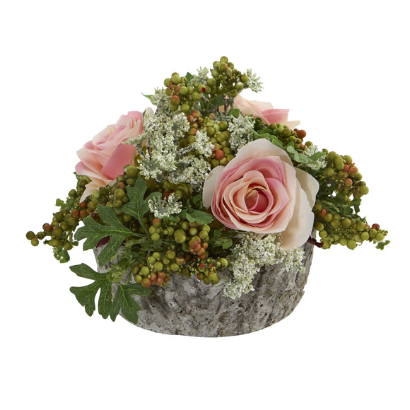 Roses Bouquet Artificial Arrangement in Oak Vase - SKU #1634 - 2