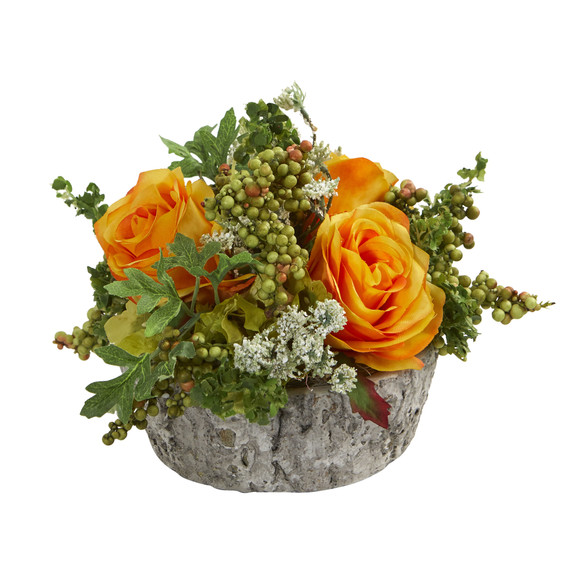 Roses Bouquet Artificial Arrangement in Oak Vase - SKU #1634 - 4