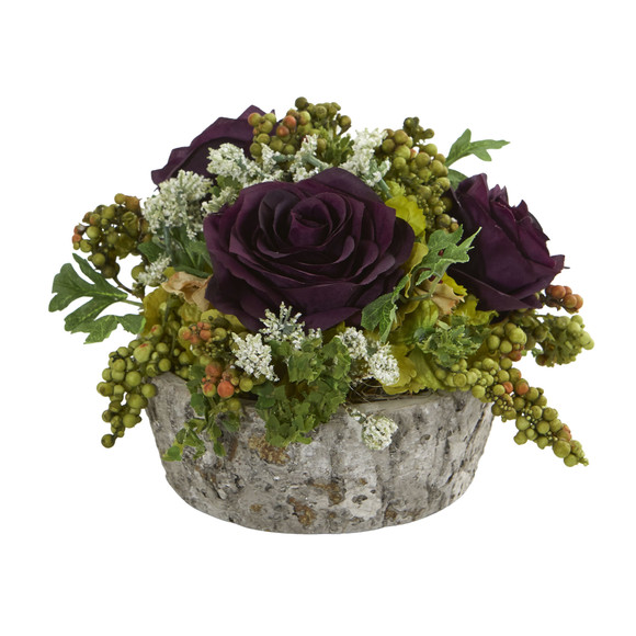Roses Bouquet Artificial Arrangement in Oak Vase - SKU #1634 - 7