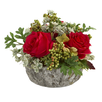 Roses Bouquet Artificial Arrangement in Oak Vase - SKU #1634