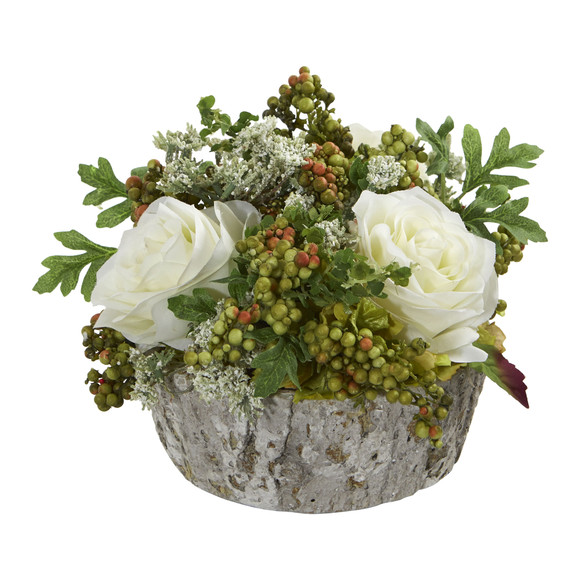 Roses Bouquet Artificial Arrangement in Oak Vase - SKU #1634 - 3