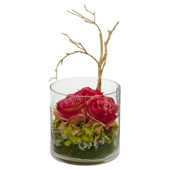 Roses Hydrangeas Artificial Arrangement - SKU #1635-BG