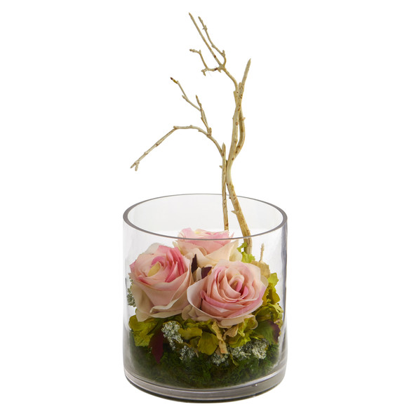 Roses Hydrangeas Artificial Arrangement - SKU #1635 - 2