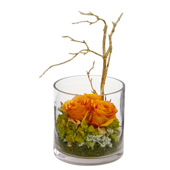 Roses Hydrangeas Artificial Arrangement - SKU #1635 - 3