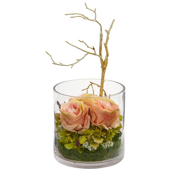 Roses Hydrangeas Artificial Arrangement - SKU #1635 - 6