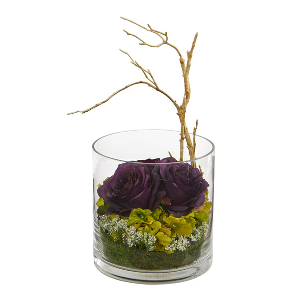 Roses Hydrangeas Artificial Arrangement - SKU #1635 - 4