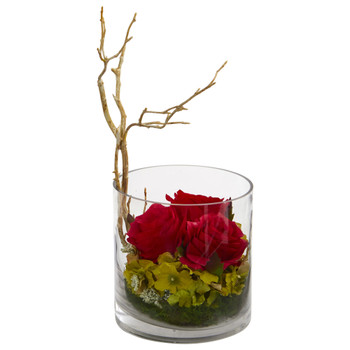 Roses Hydrangeas Artificial Arrangement - SKU #1635