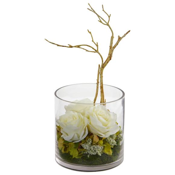 Roses Hydrangeas Artificial Arrangement - SKU #1635 - 3