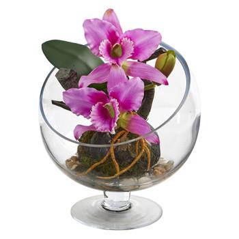 Mini Orchid Cattleya Artificial Arrangement in Pedestal Vase - SKU #1636-PP
