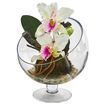 Mini Orchid Cattleya Artificial Arrangement in Pedestal Vase - SKU #1636
