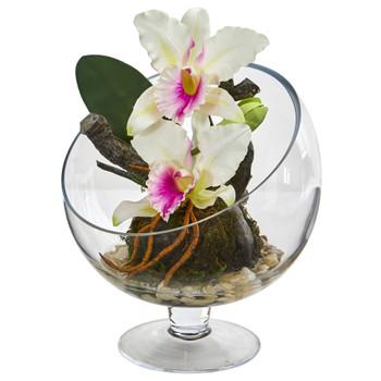 Mini Orchid Cattleya Artificial Arrangement in Pedestal Vase - SKU #1636