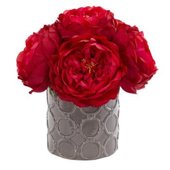Large Rose Artificial Arrangement in Gray Vase - SKU #1637