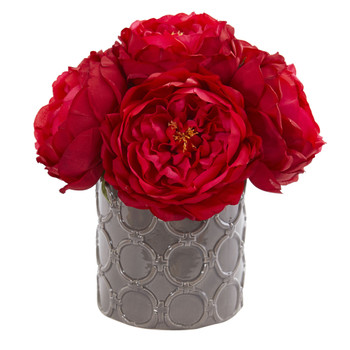 Large Rose Artificial Arrangement in Gray Vase - SKU #1637-RD