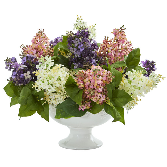 Lilac Artificial Arrangement in White Vase - SKU #1638 - 3