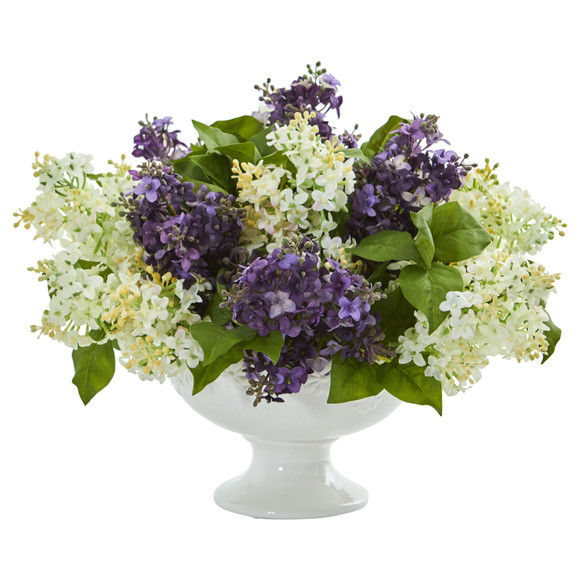 Lilac Artificial Arrangement in White Vase - SKU #1638 - 4