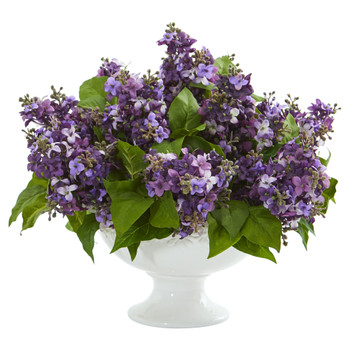 Lilac Artificial Arrangement in White Vase - SKU #1638-PP