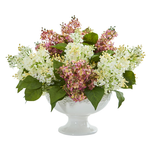 Lilac Artificial Arrangement in White Vase - SKU #1638 - 5