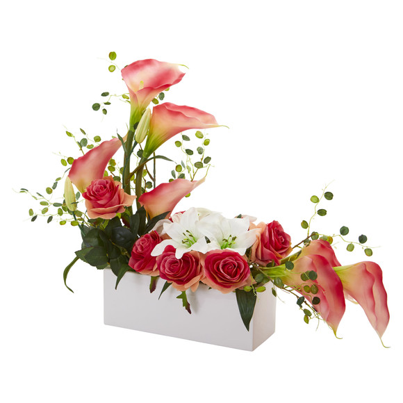 Mixed Lily and Rose Artificial Arrangement - SKU #1639 - 2