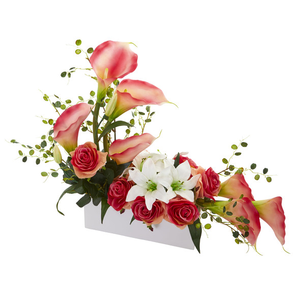 Mixed Lily and Rose Artificial Arrangement - SKU #1639 - 3