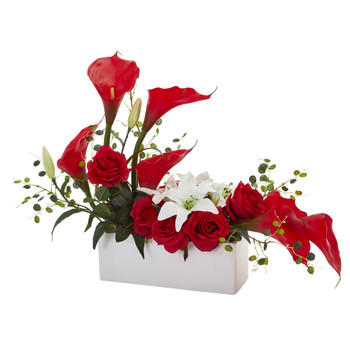 Mixed Lily and Rose Artificial Arrangement - SKU #1639-RD