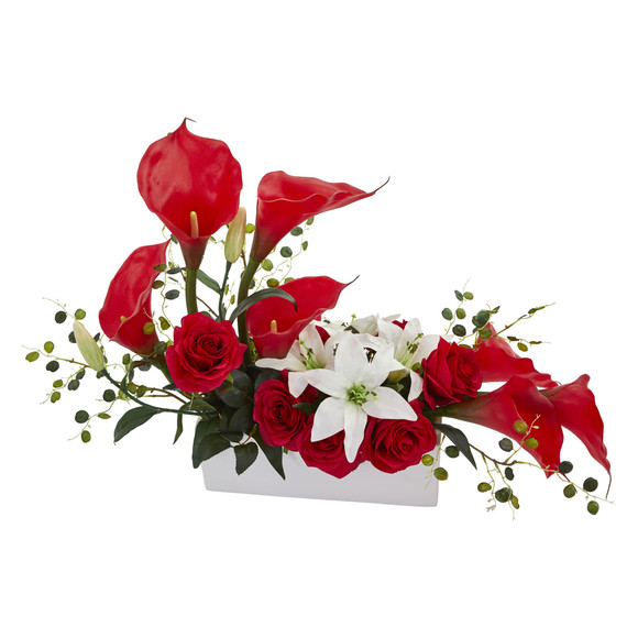 Mixed Lily and Rose Artificial Arrangement - SKU #1639 - 1