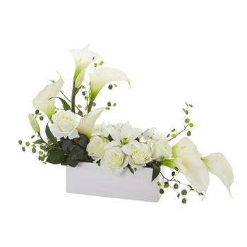 Mixed Lily and Rose Artificial Arrangement - SKU #1639-WH
