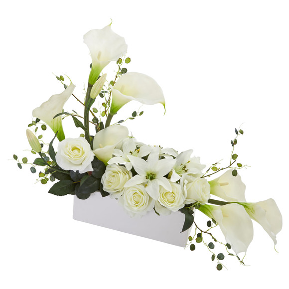 Mixed Lily and Rose Artificial Arrangement - SKU #1639 - 5