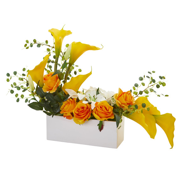 Mixed Lily and Rose Artificial Arrangement - SKU #1639 - 6