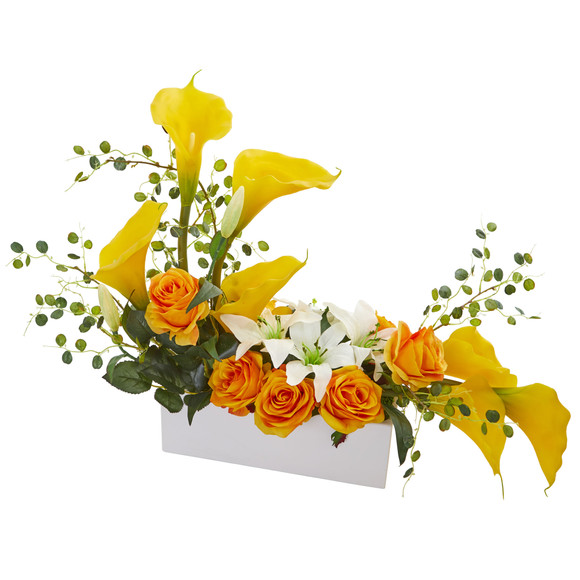 Mixed Lily and Rose Artificial Arrangement - SKU #1639 - 7