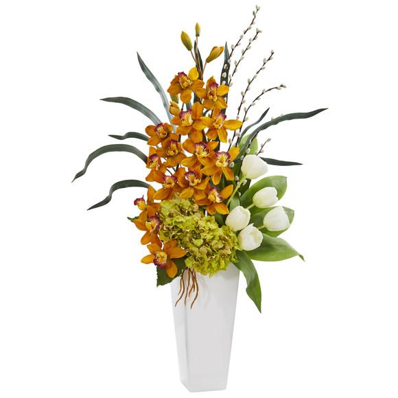 Cymbidium Orchid Hydrangea and Tulip Artificial Arrangement - SKU #1640-YL
